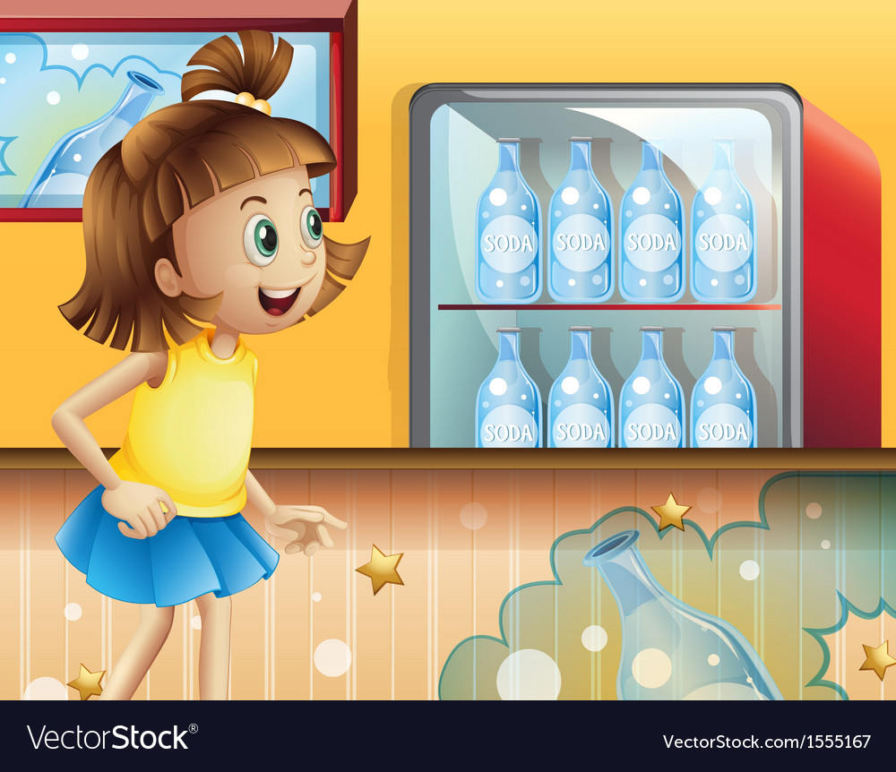 A happy young girl inside the store selling sodas vector | Price: 1 Credit (USD $1)