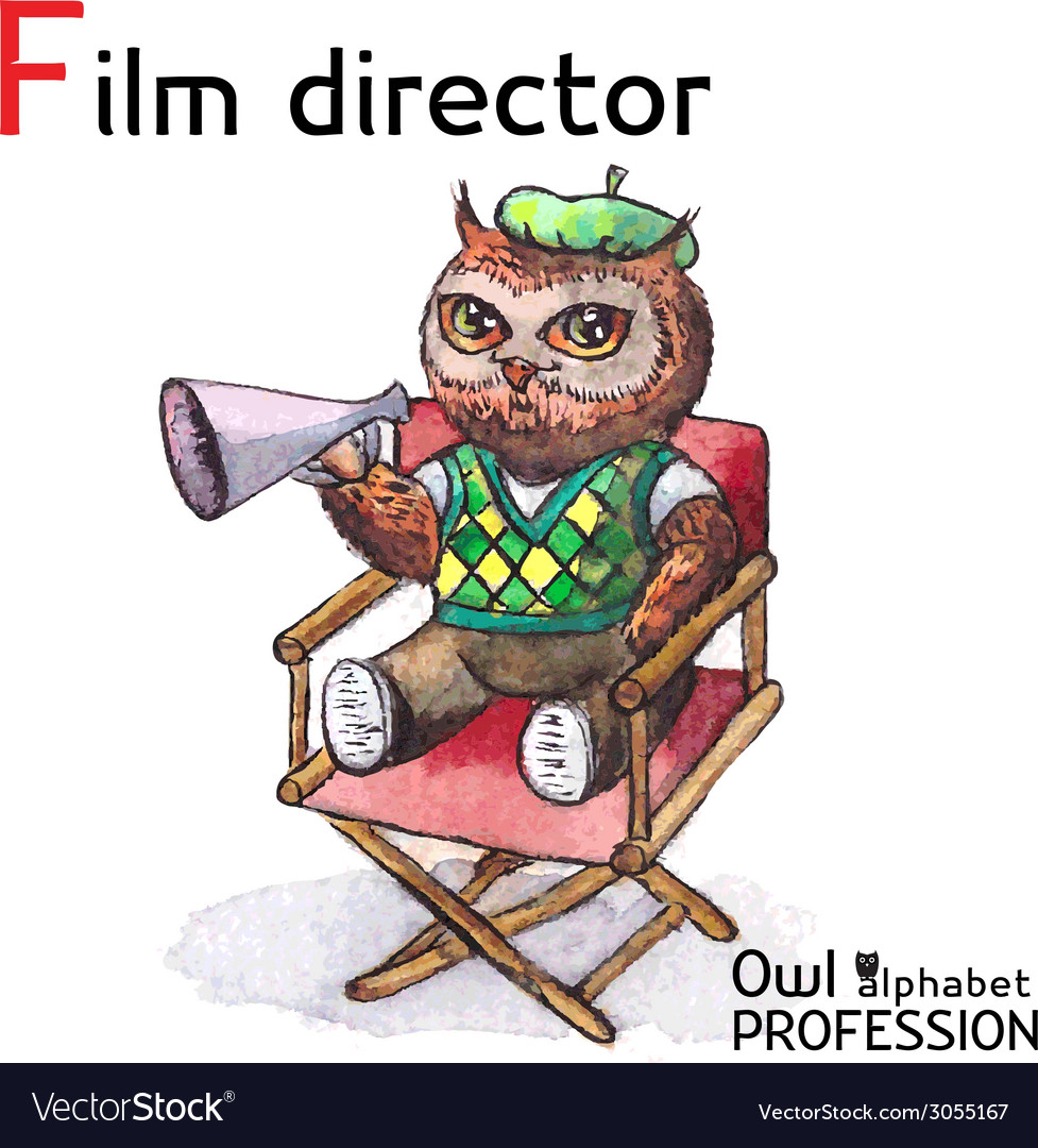 Alphabet professions owl letter f - film director vector | Price: 1 Credit (USD $1)