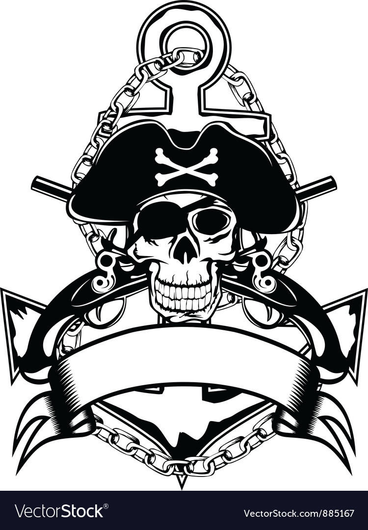 Anchor and skull vector | Price: 1 Credit (USD $1)