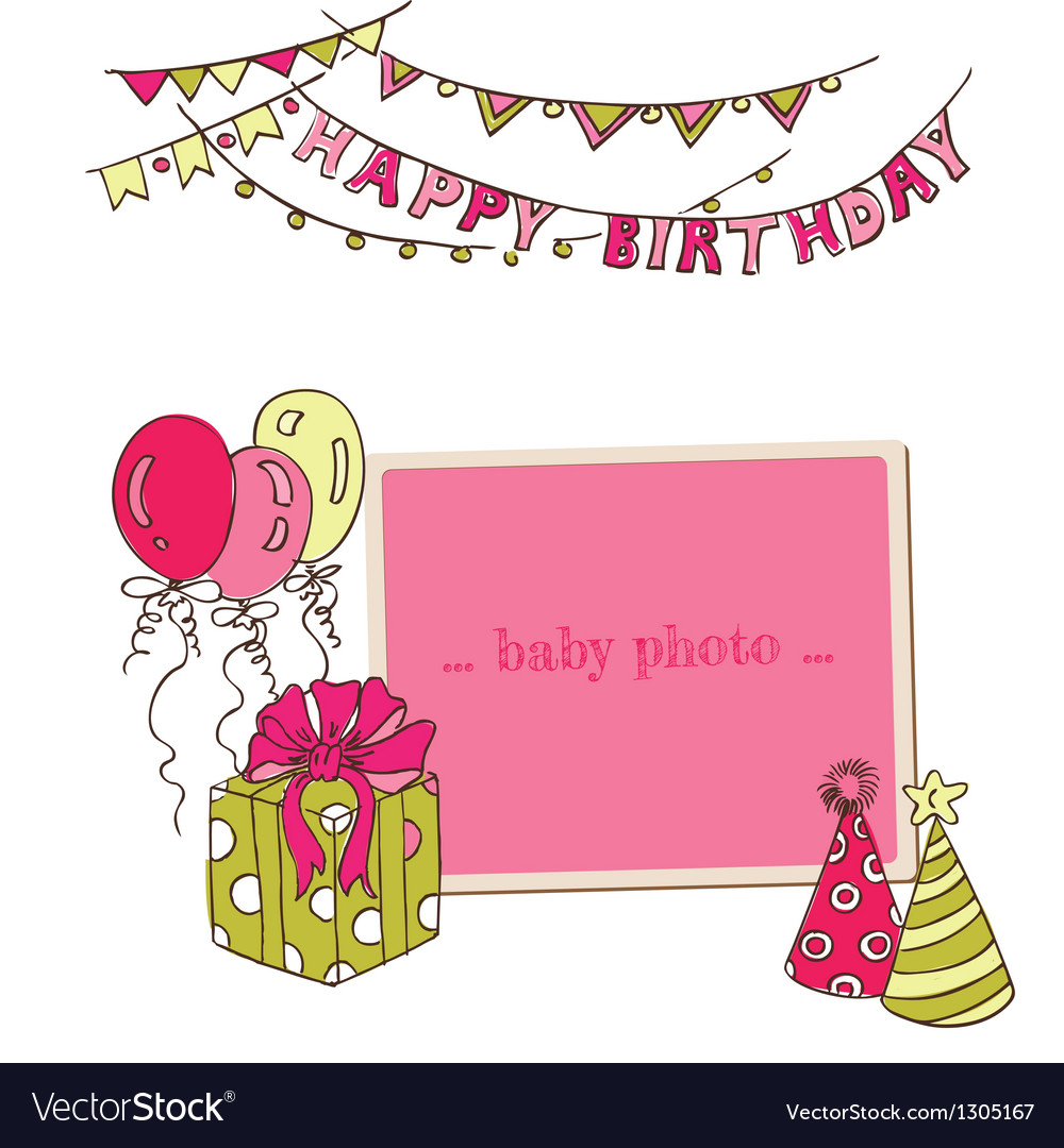 Birthday greeting card with photo frame vector | Price: 1 Credit (USD $1)