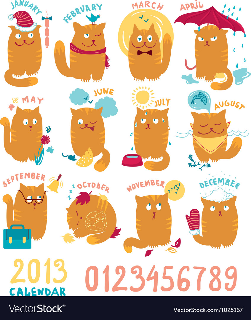 Calendar with cute bright cats vector | Price: 1 Credit (USD $1)