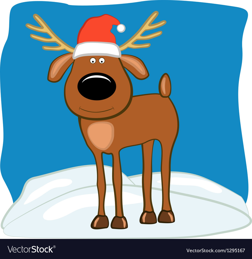 Christmas deer in a cap of santa vector | Price: 3 Credit (USD $3)