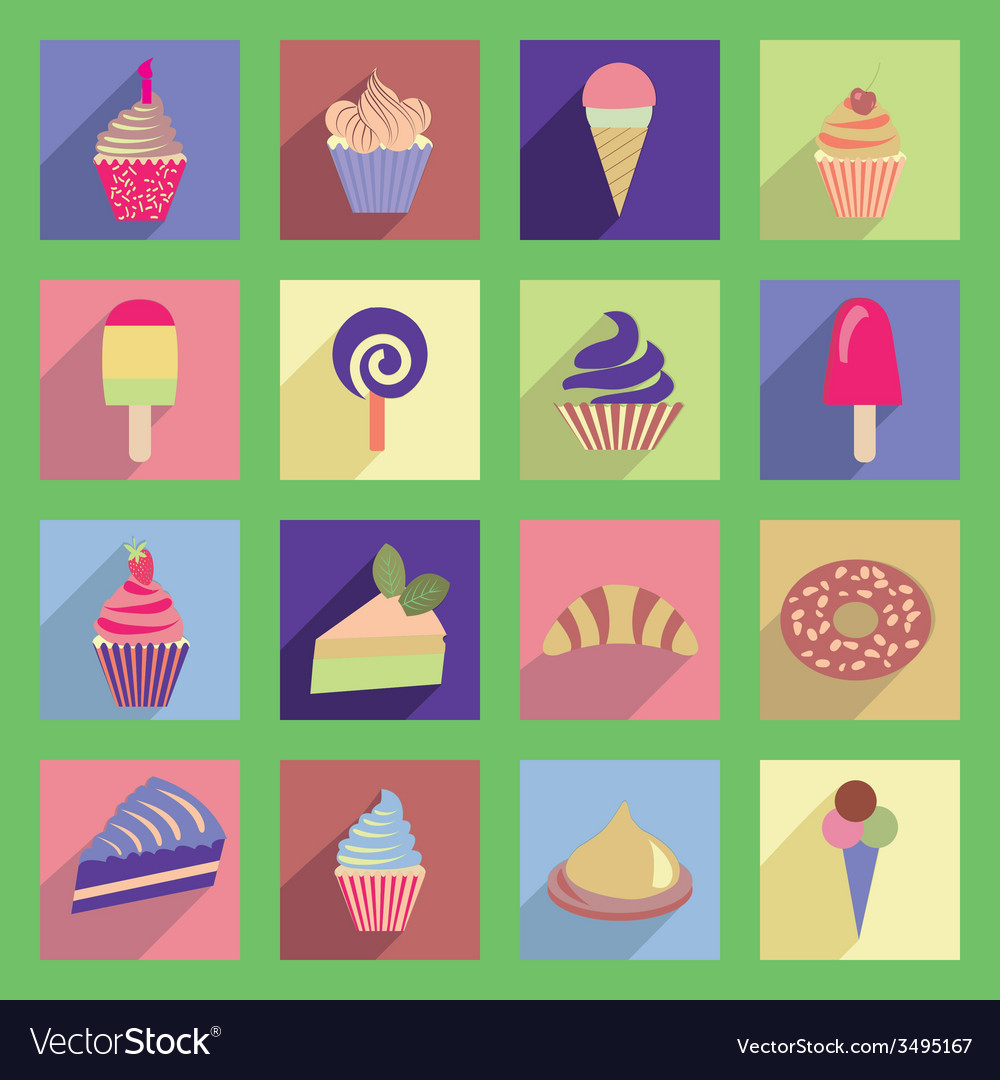 Cupcakes icons with flat 2 38 vector | Price: 1 Credit (USD $1)