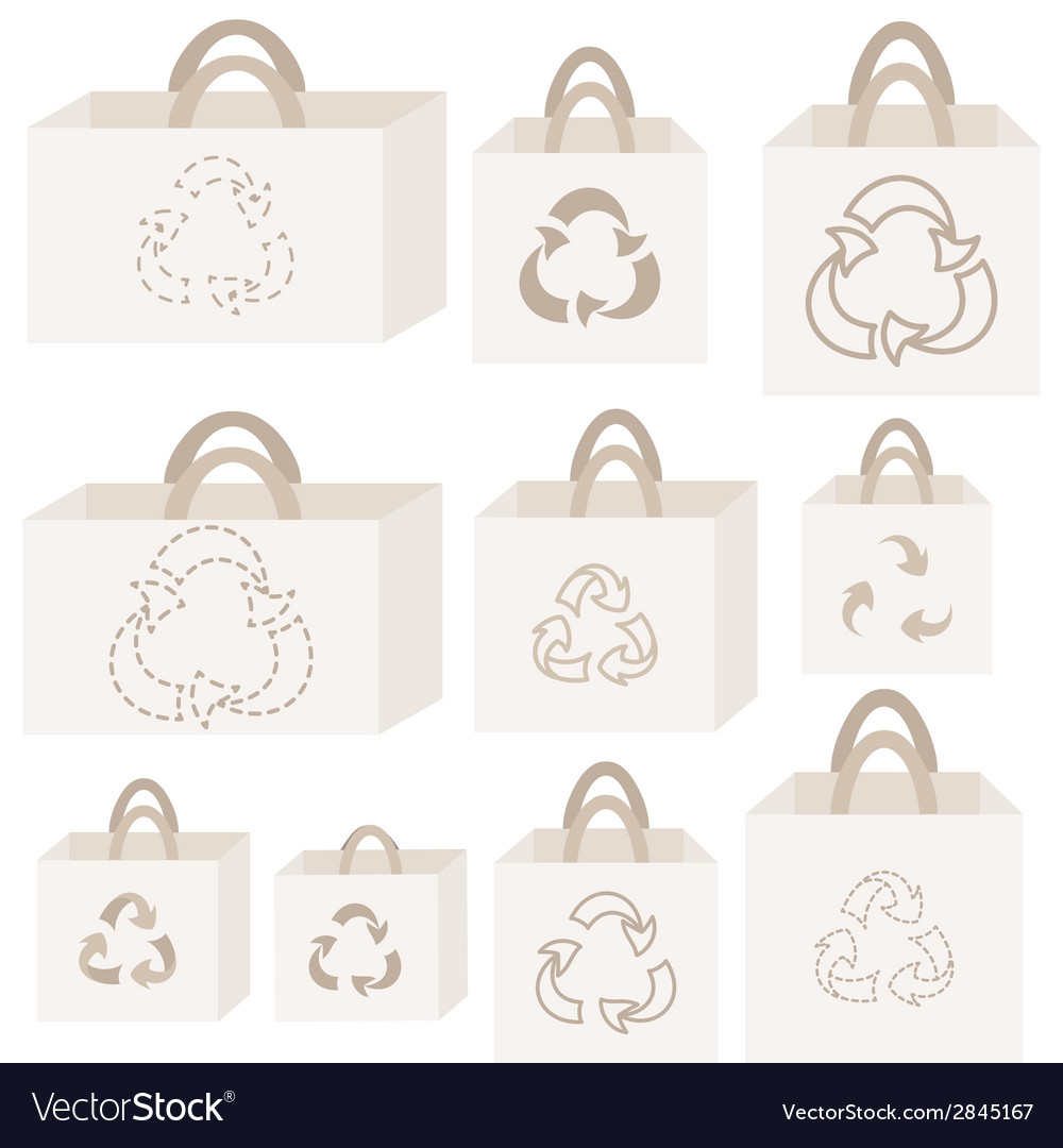 Eco recycle bag collection vector | Price: 1 Credit (USD $1)
