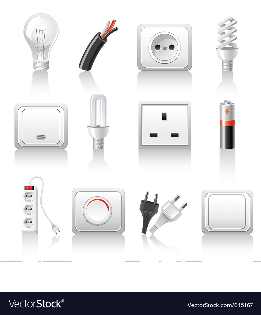 Electric accessories icons vector | Price: 1 Credit (USD $1)