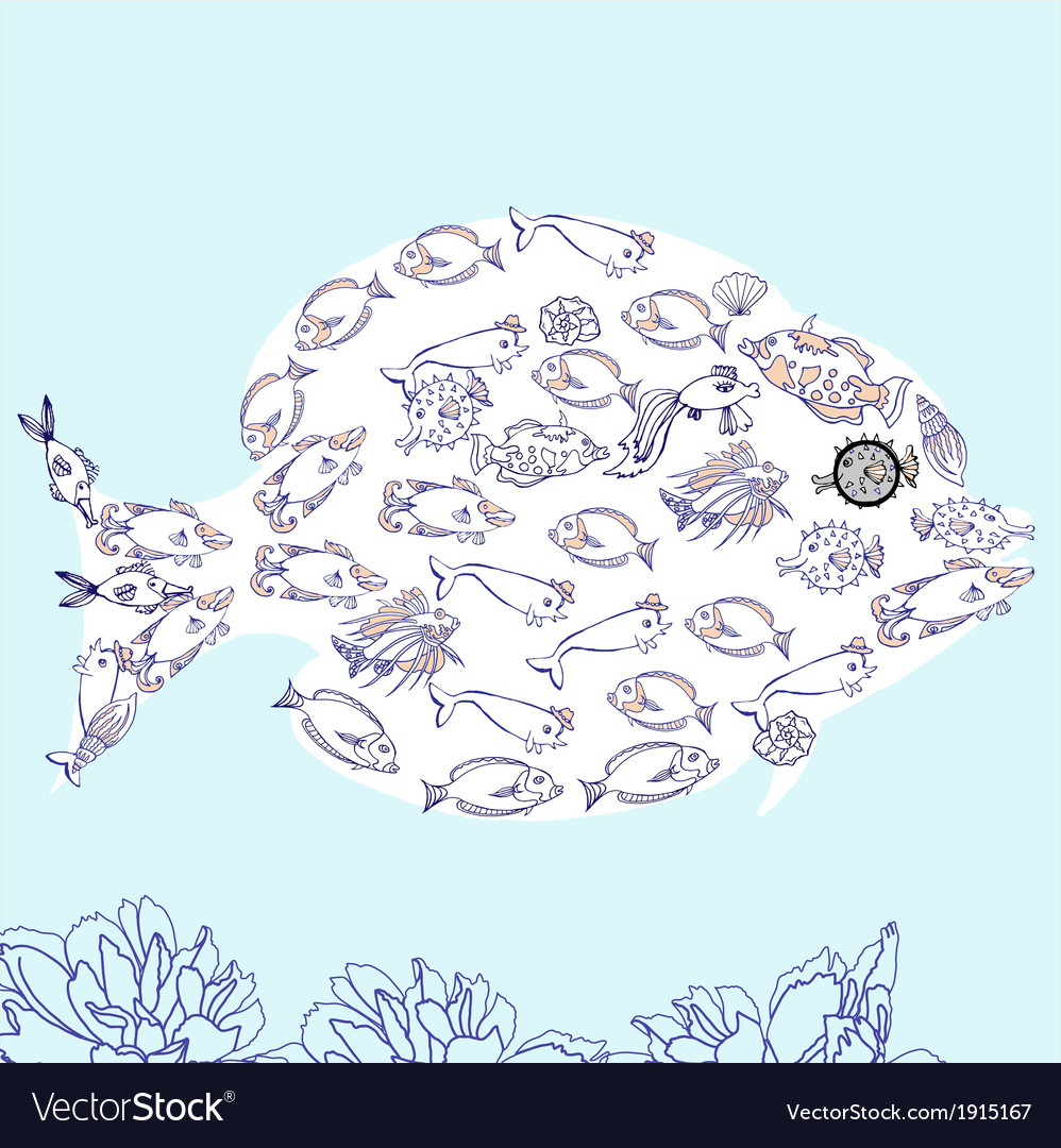 Fish with fish and cockleshell vector | Price: 1 Credit (USD $1)