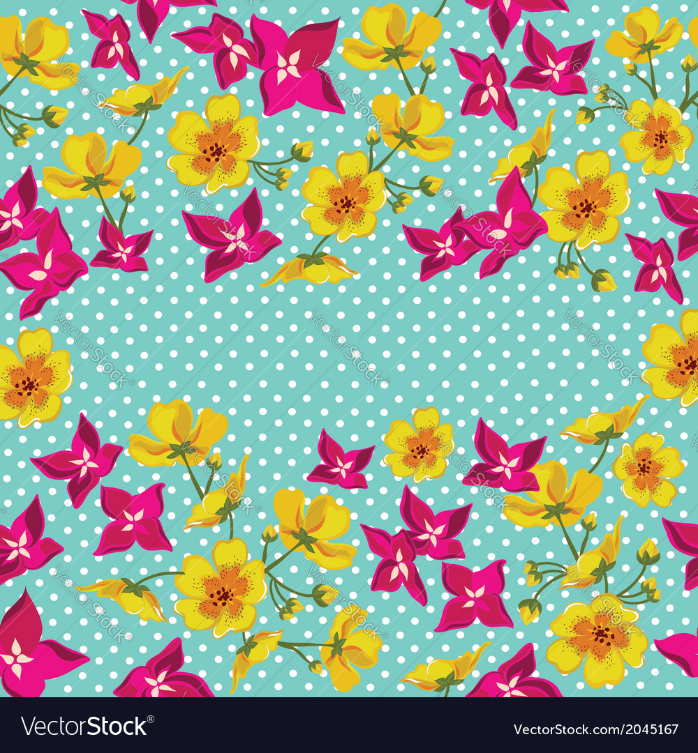Floral pattern with beautiful flowers vector | Price: 1 Credit (USD $1)