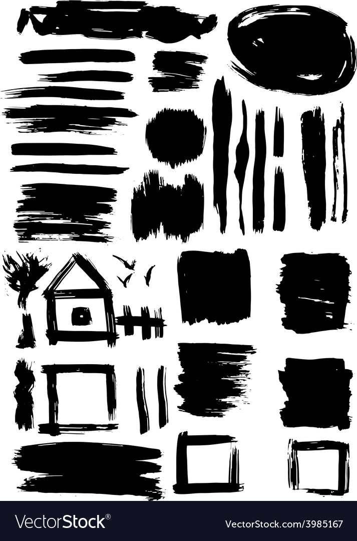 Grunge set of paint stains grungy decoration vector | Price: 1 Credit (USD $1)