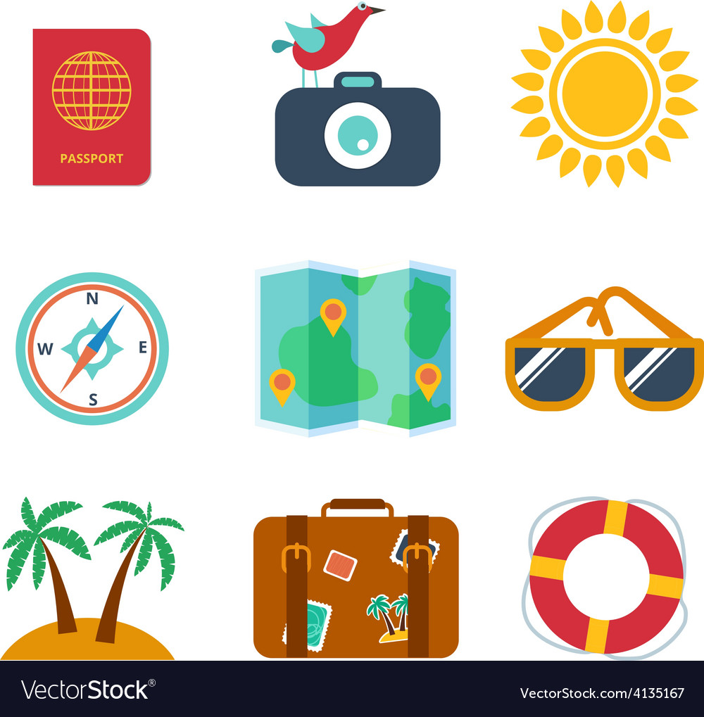 Icons of travel summer in the flat style vector | Price: 1 Credit (USD $1)