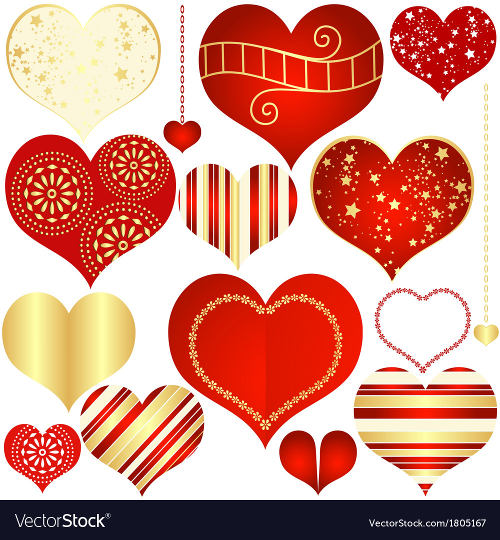 Isolated vintage hearts vector | Price: 1 Credit (USD $1)