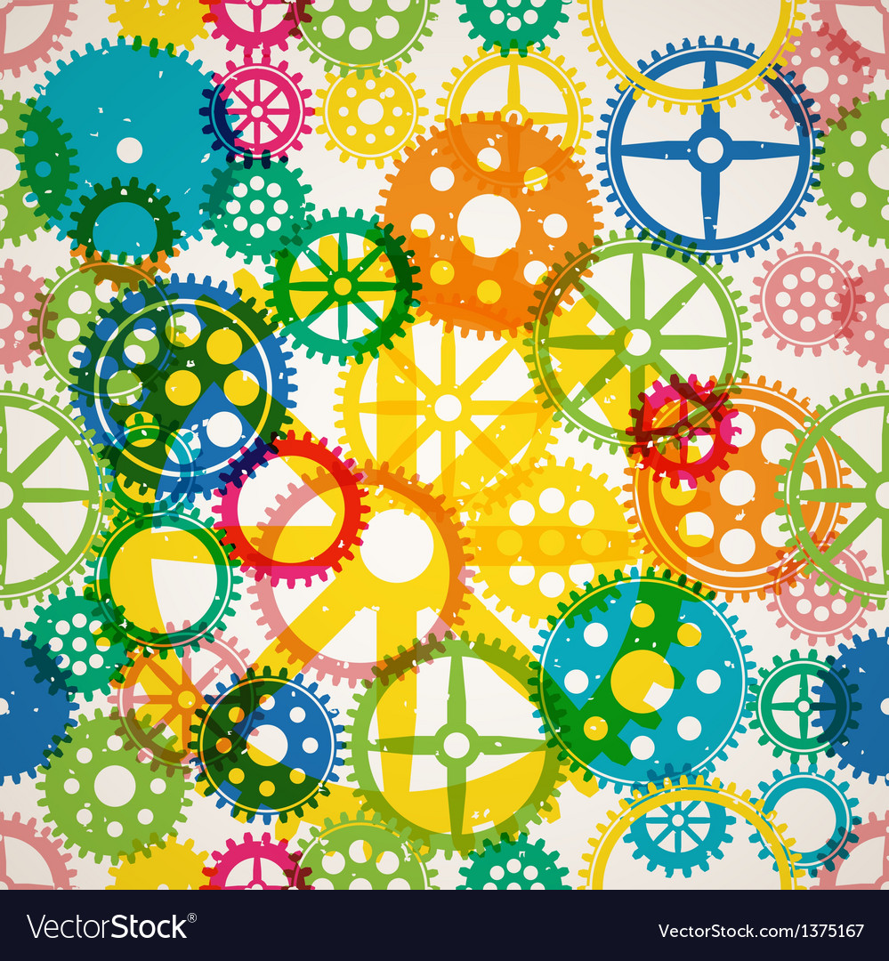 Seamless clockwork colorful background vector | Price: 1 Credit (USD $1)