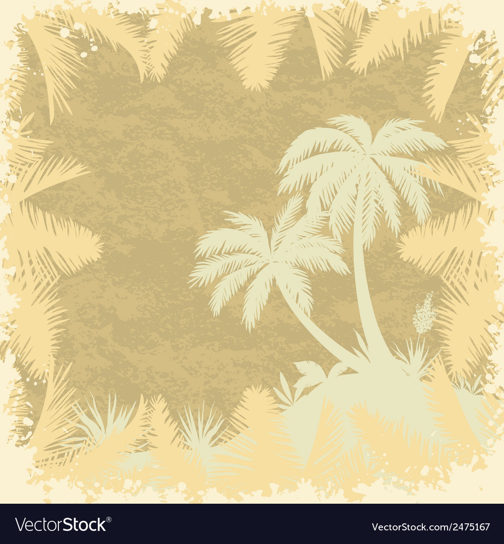 Tropical palms trees and leaves silhouettes vector | Price: 1 Credit (USD $1)