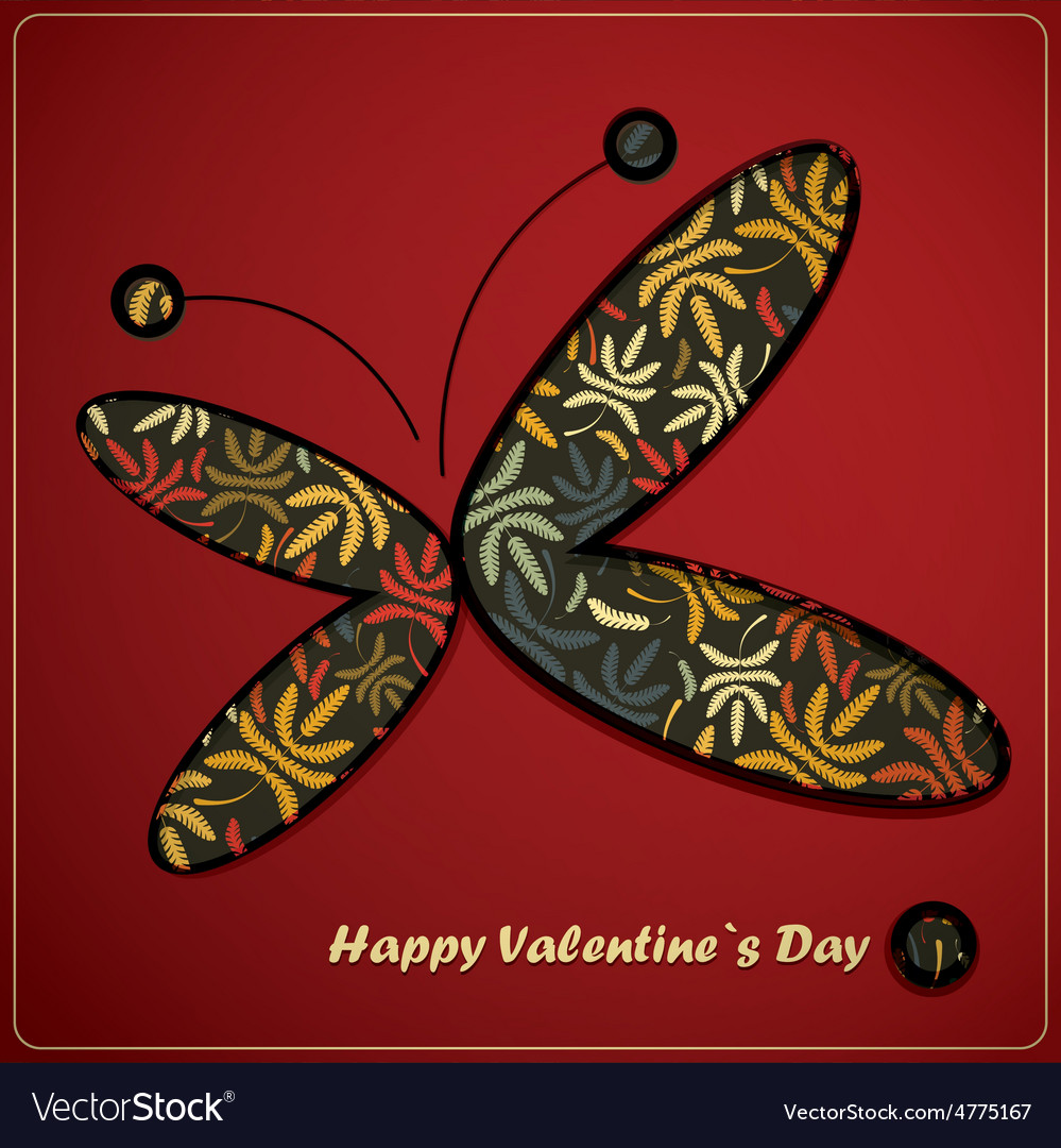 Valentine day card with butterfly vector | Price: 1 Credit (USD $1)