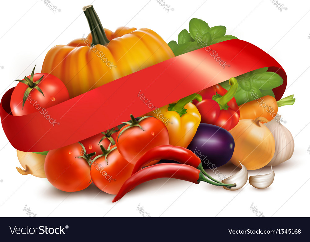 Background with fresh vegetables and red ribbon vector | Price: 1 Credit (USD $1)