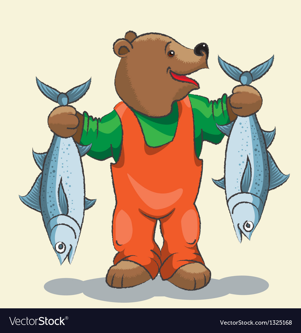 Bear fisherman vector | Price: 3 Credit (USD $3)