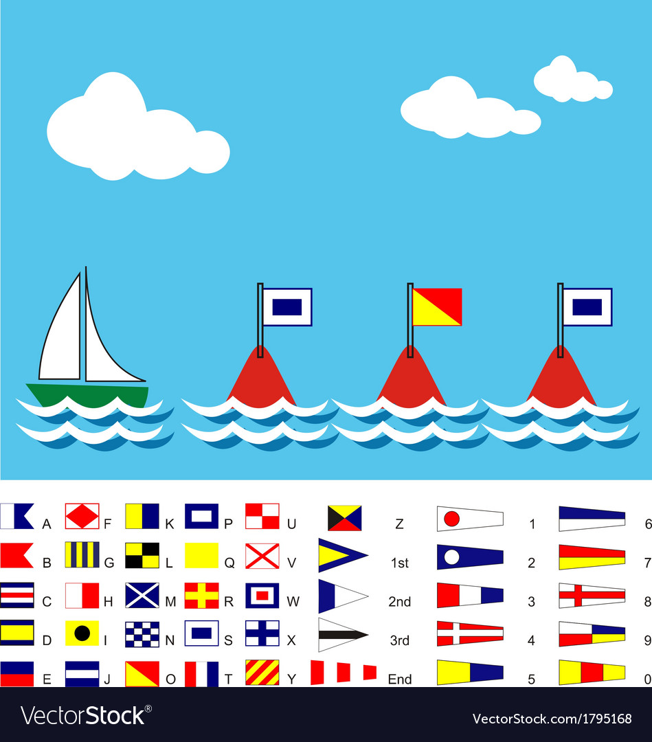 Boat with sos flags and maritime signal flags vector | Price: 1 Credit (USD $1)
