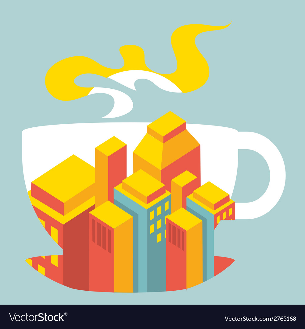City buildings inside the cup of coffee vector | Price: 1 Credit (USD $1)