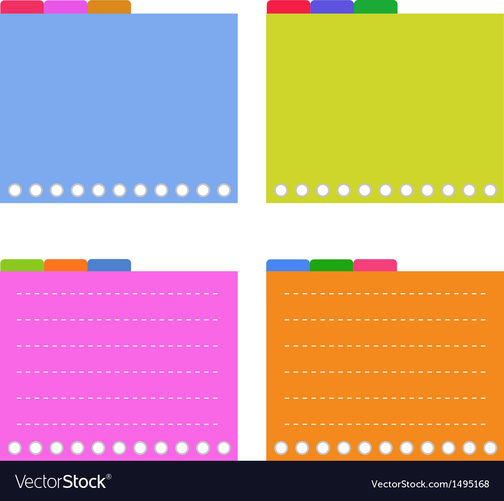 Four colorful lined spiral notepad papers vector | Price: 1 Credit (USD $1)