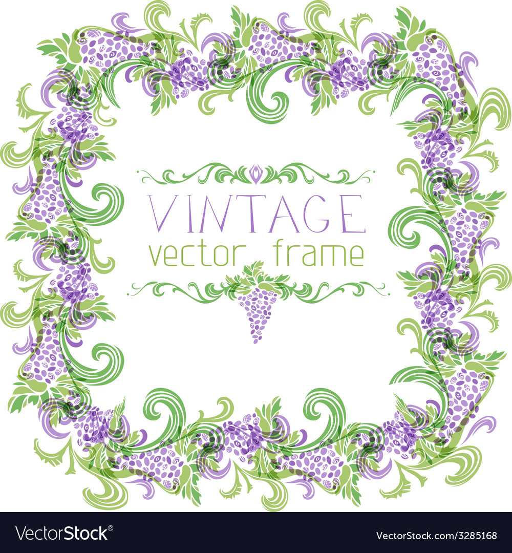 Grapes square frame vector | Price: 1 Credit (USD $1)
