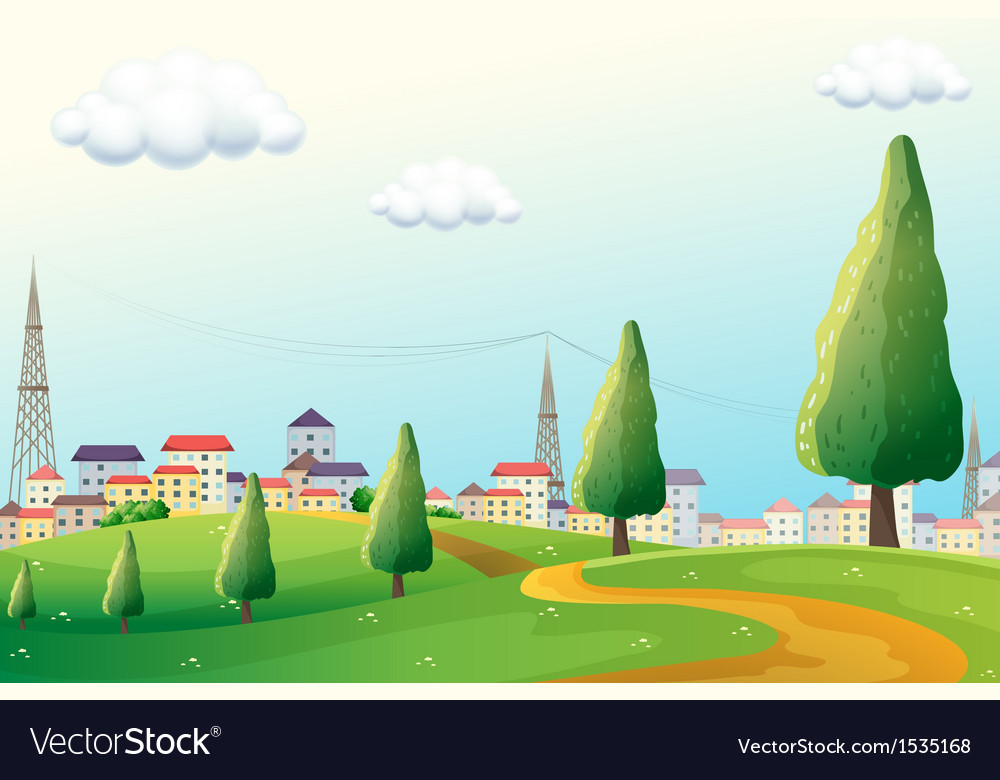Hills across the neighborhood vector | Price: 1 Credit (USD $1)