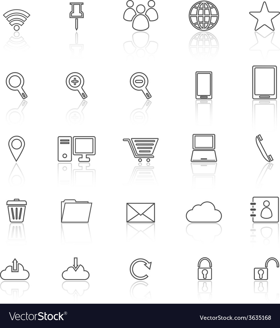 Internet line icons with reflect on white vector | Price: 1 Credit (USD $1)
