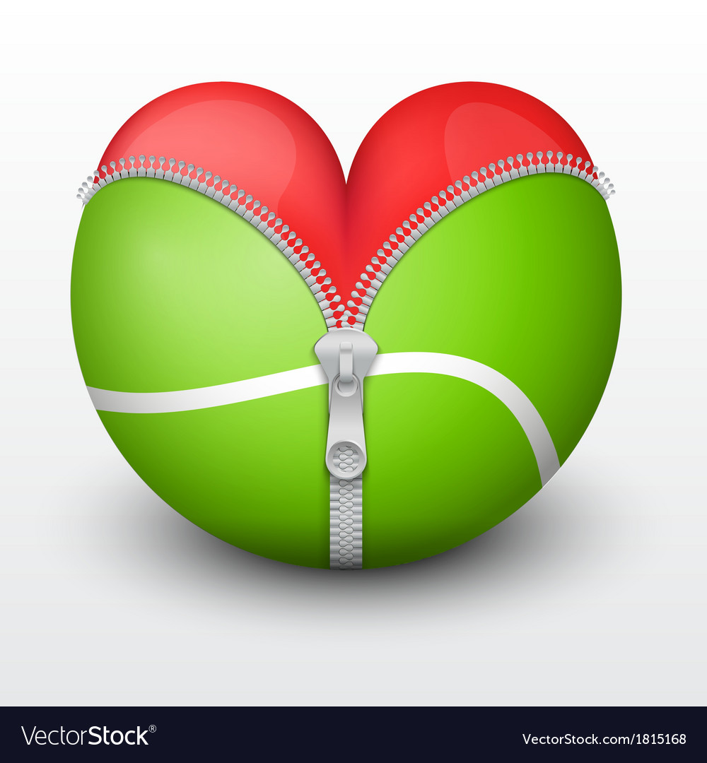 Red heart inside tennis ball vector | Price: 1 Credit (USD $1)