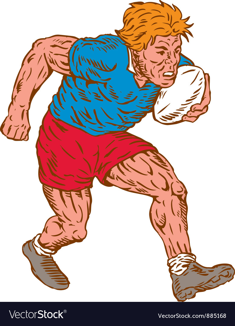 Rugby player running with ball woodcut vector | Price: 1 Credit (USD $1)