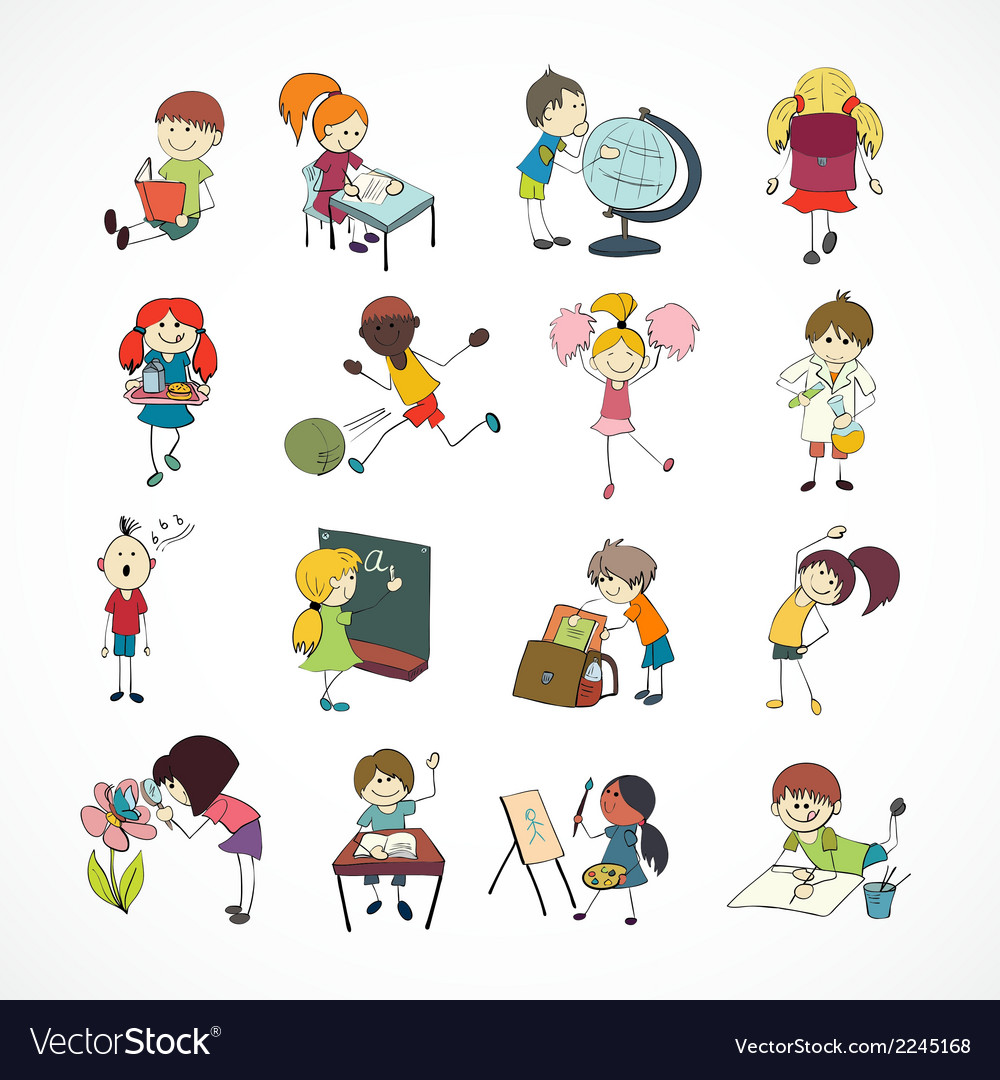 School kids doodle sketch vector | Price: 1 Credit (USD $1)
