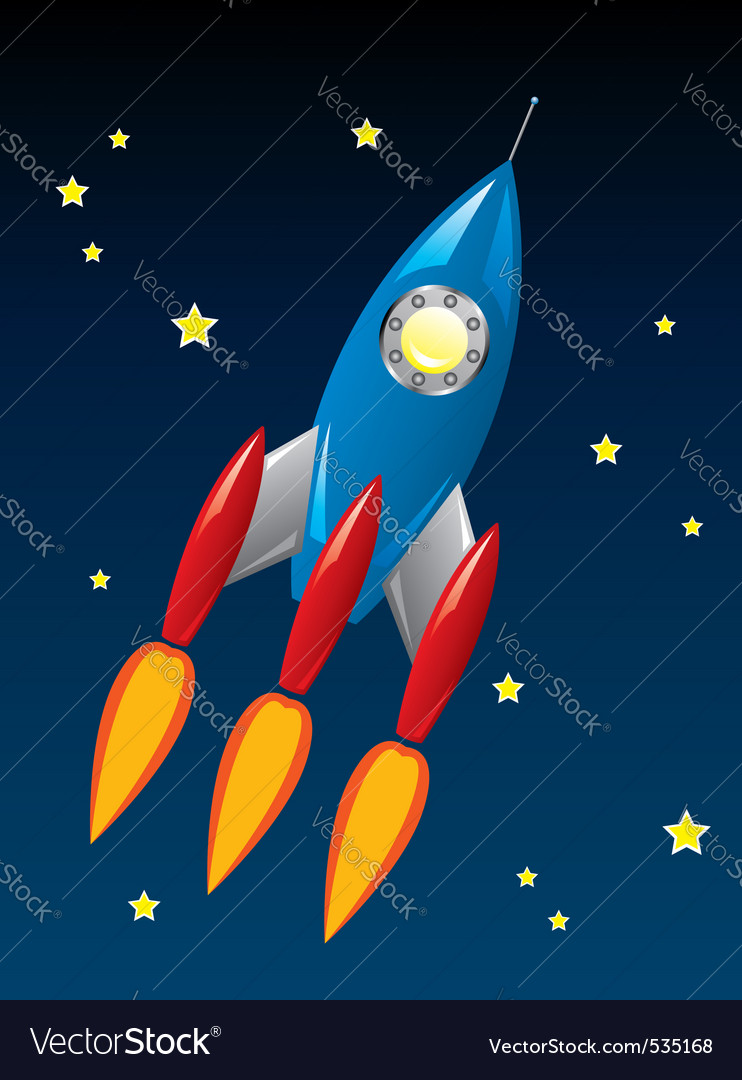 stylized retro rocket ship in space vector | Price: 1 Credit (USD $1)