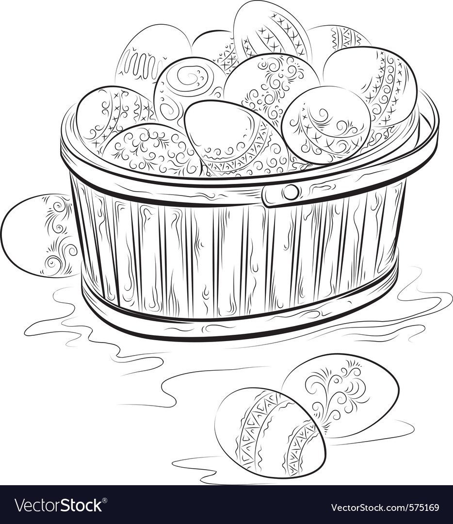 Basket of easter eggs vector | Price: 1 Credit (USD $1)
