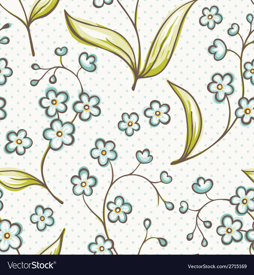 Beautiful seamless pattern with forget-me not vector | Price: 1 Credit (USD $1)