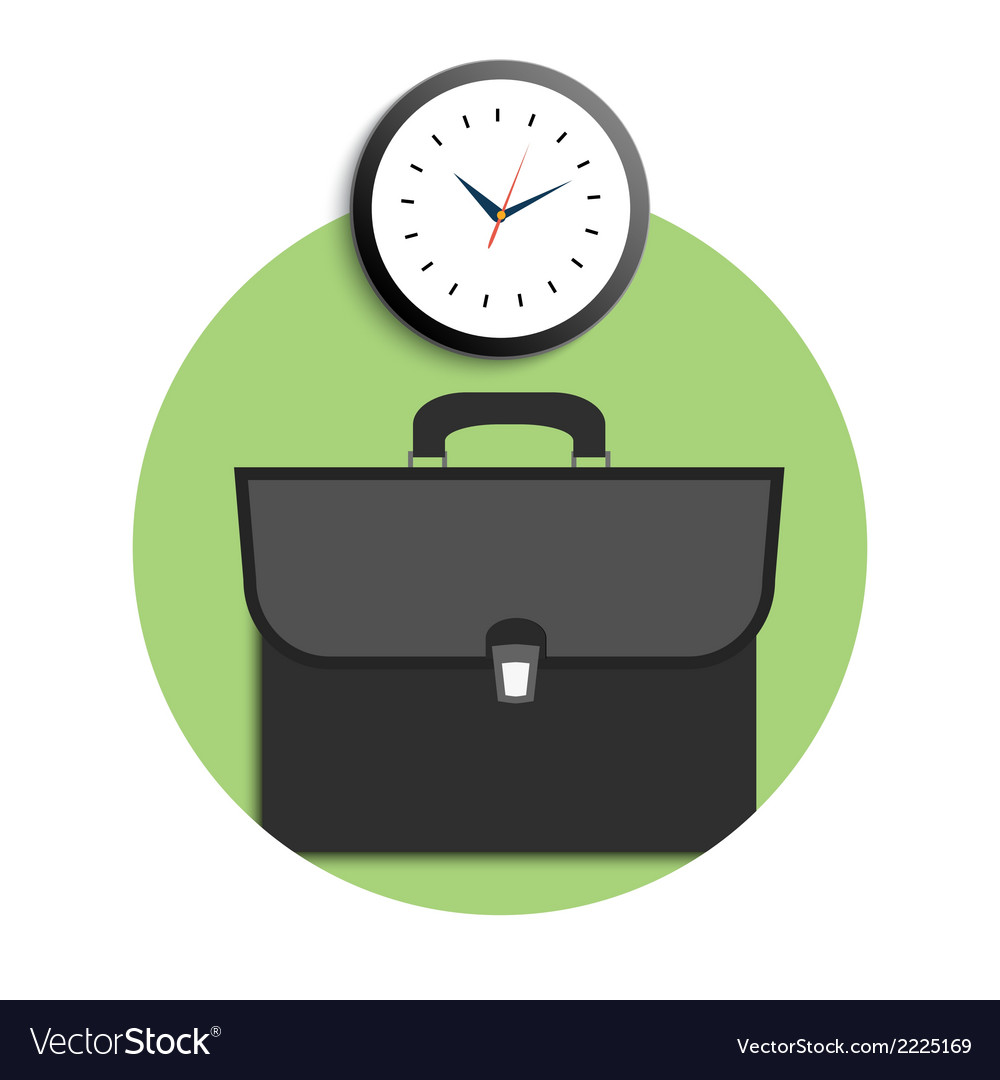 Briefcase and clock icons vector | Price: 1 Credit (USD $1)
