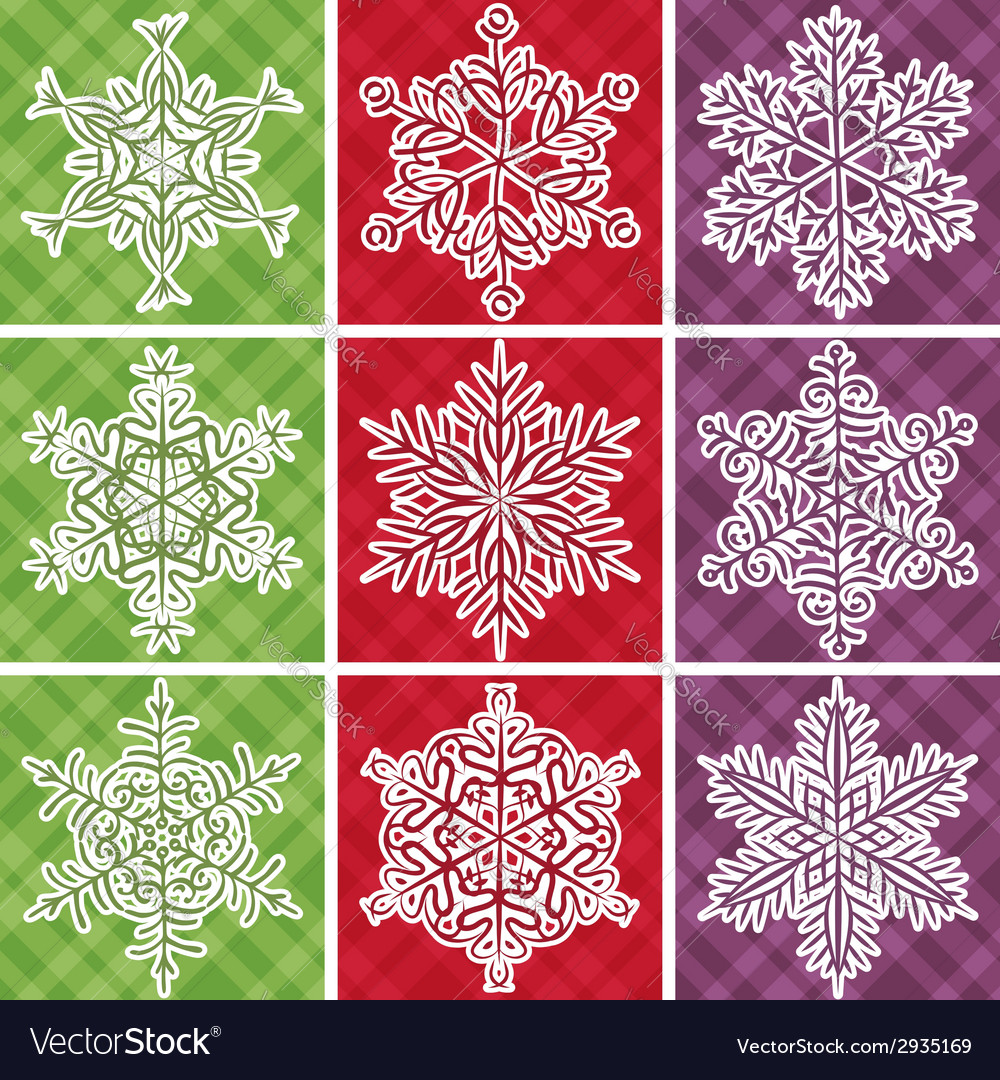 Christmas checked background with snowflakes vector | Price: 1 Credit (USD $1)