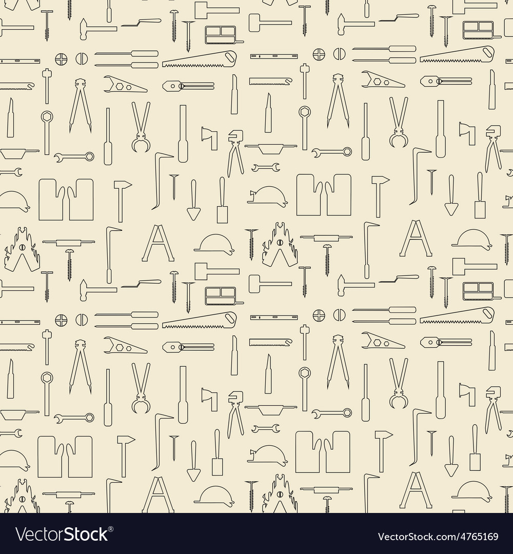 Construction tools items linear set seamless vector   Price: 1 Credit (USD $1)