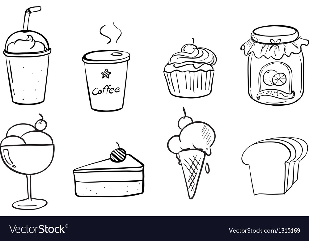 Different foods with drinks vector | Price: 1 Credit (USD $1)