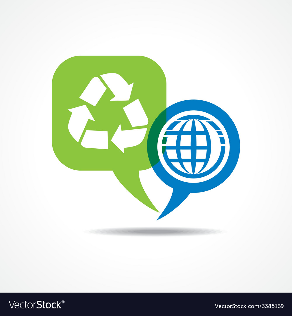 Earth and recycle icon in message bubble vector | Price: 1 Credit (USD $1)