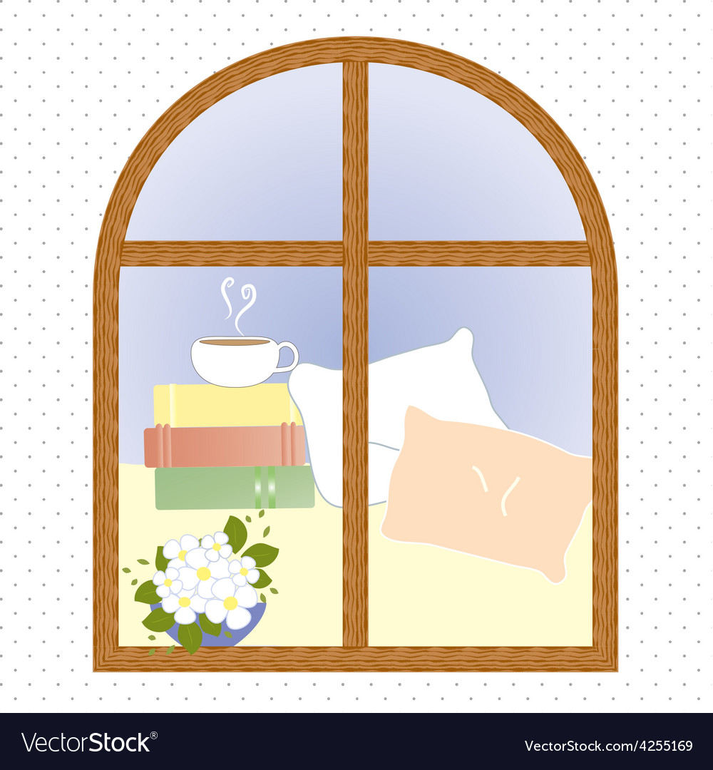 Light window city romance coffee break vector | Price: 1 Credit (USD $1)