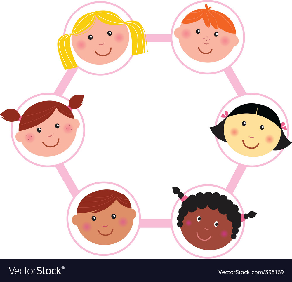 Multicultural unity kids heads vector | Price: 1 Credit (USD $1)