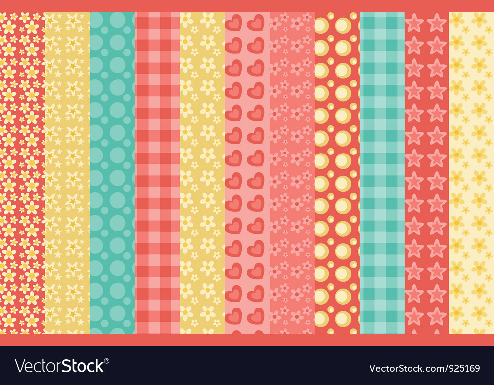 Set of simple seamless pattern vector | Price: 1 Credit (USD $1)