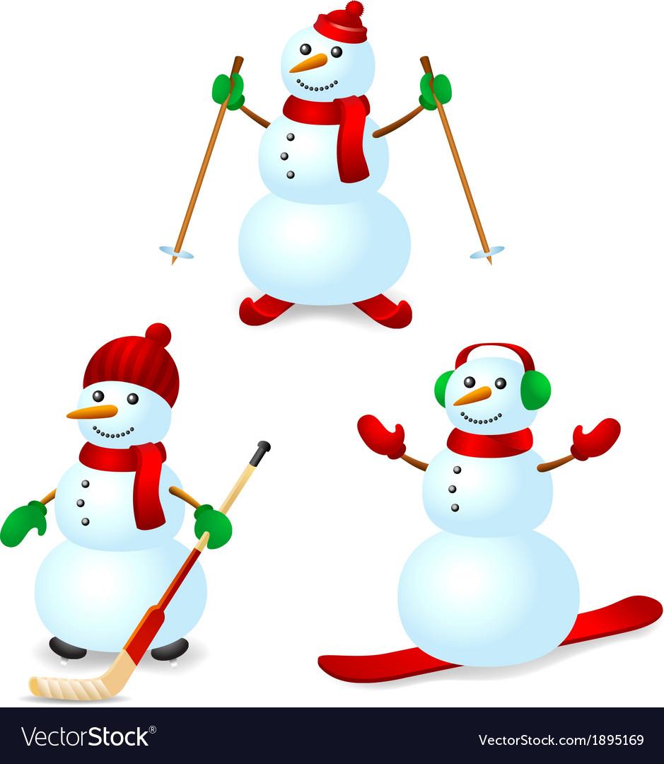 Sport snowman set vector | Price: 1 Credit (USD $1)