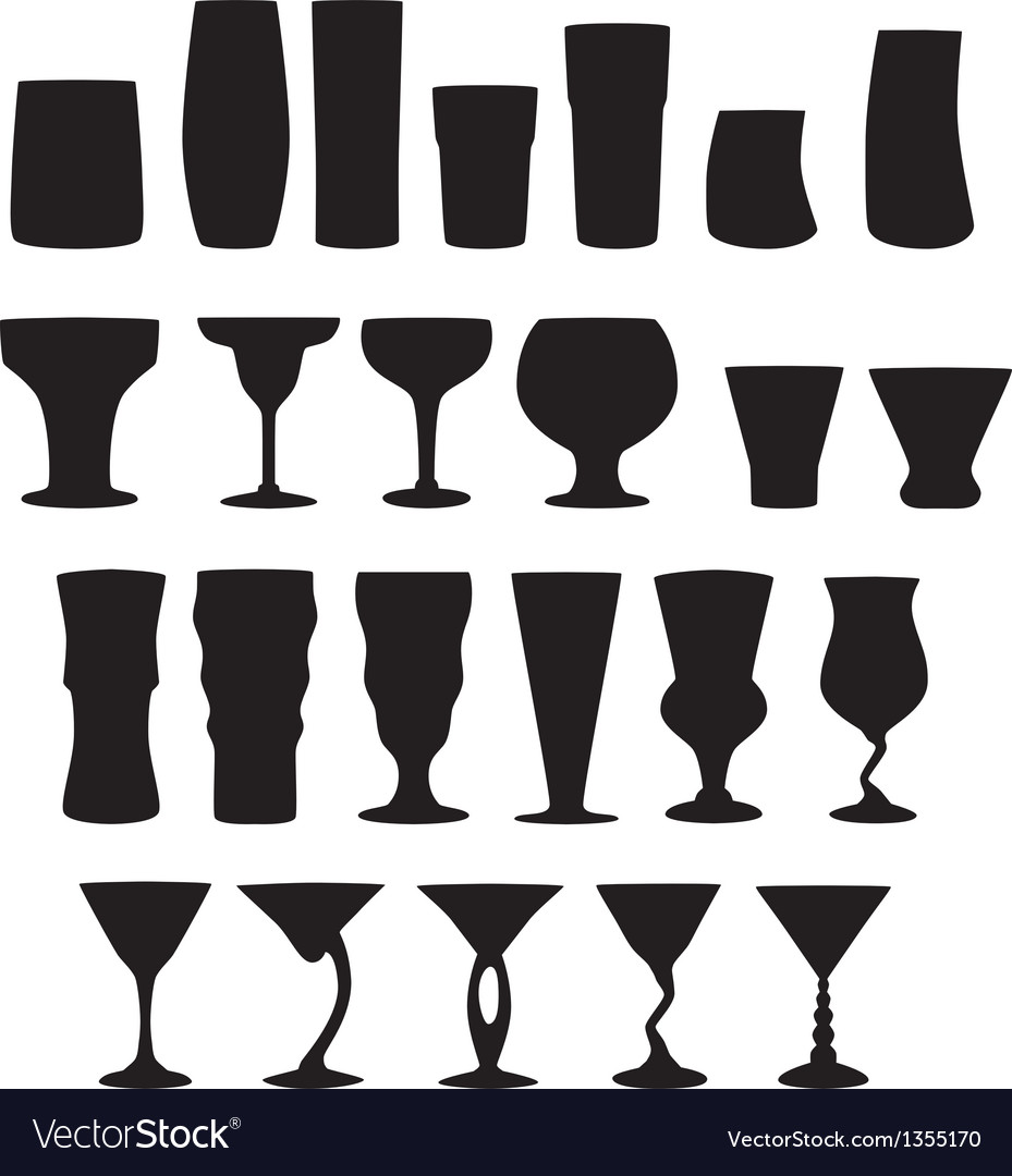 22 silhouette cocktail glasses vector | Price: 1 Credit (USD $1)