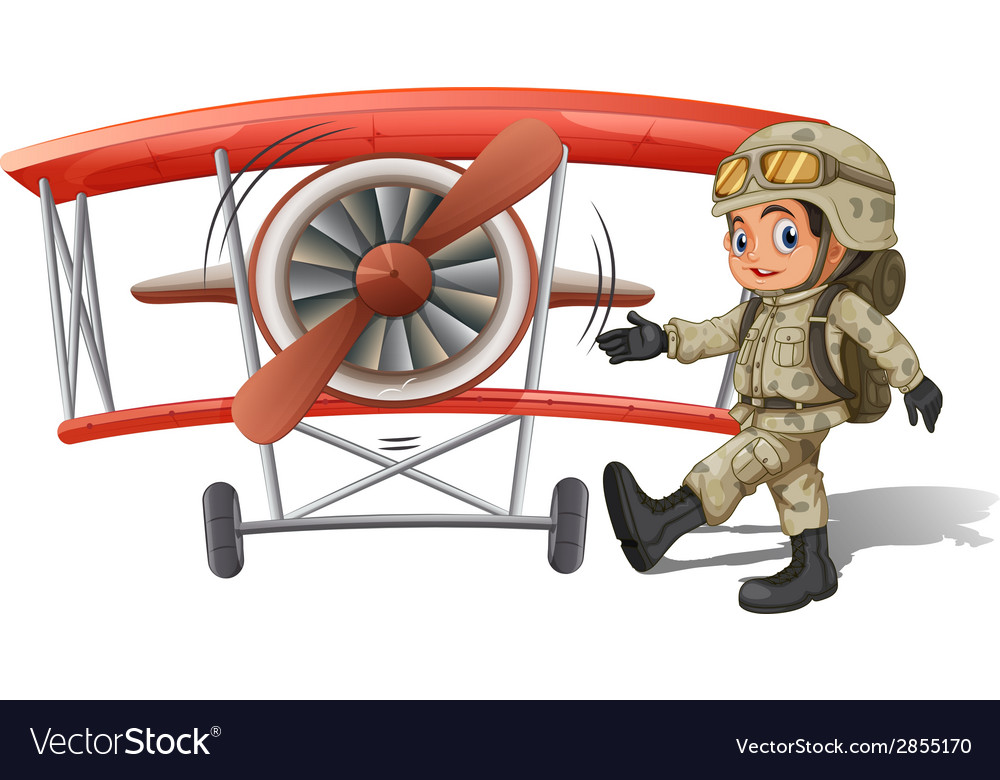 A young soldier near the plane vector | Price: 3 Credit (USD $3)