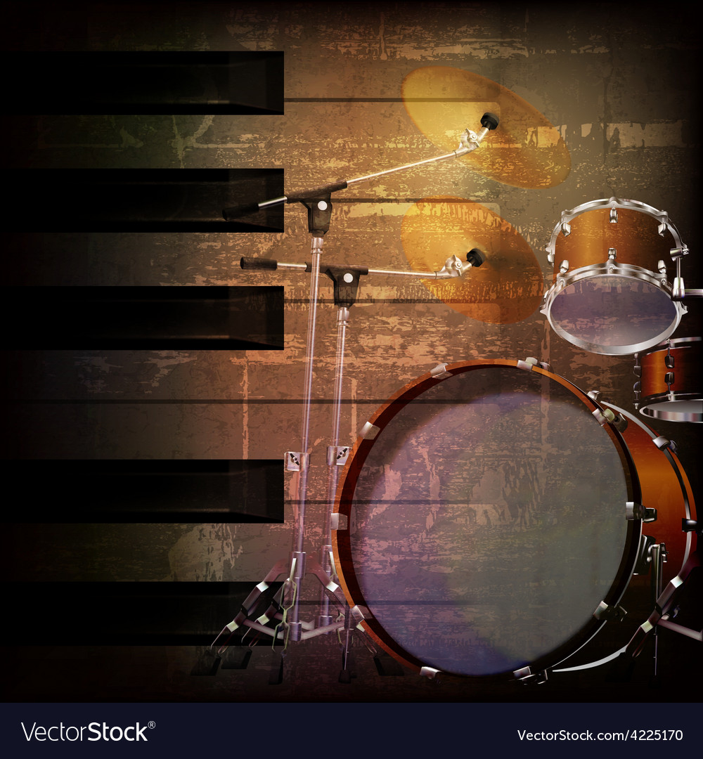 Abstract brown grunge music background with drum vector | Price: 3 Credit (USD $3)
