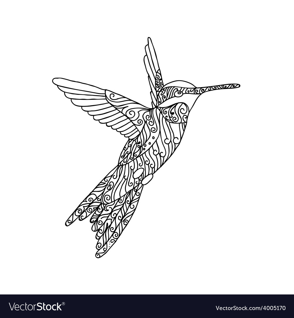 Black lace hand drawn doodle of colibri vector | Price: 1 Credit (USD $1)