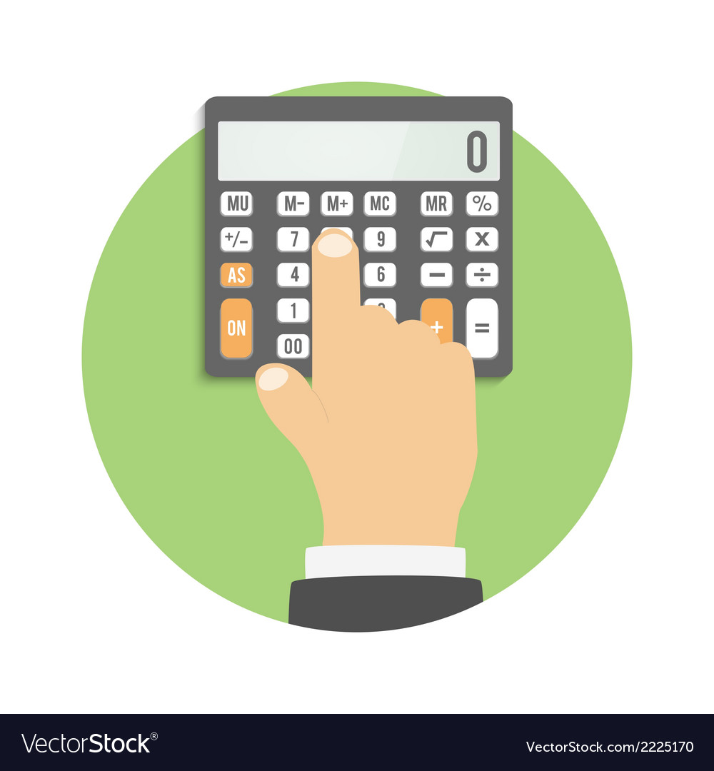 Calculator icon hand considers on the calculator vector | Price: 1 Credit (USD $1)