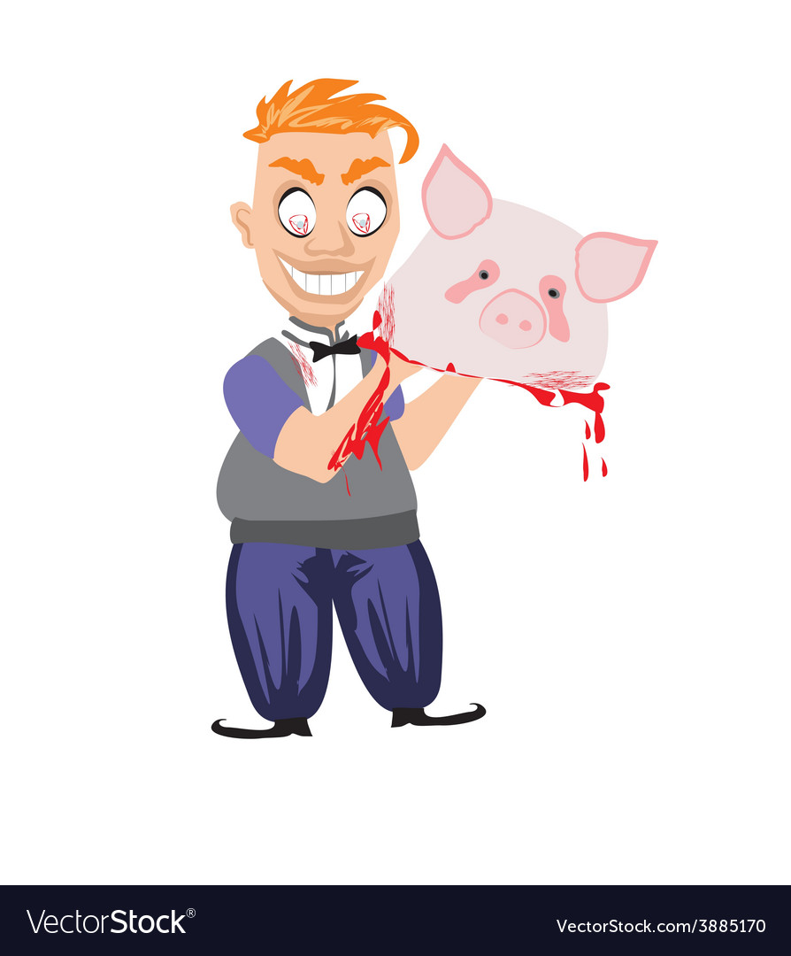 Crazy insane butcher covered with blood vector | Price: 1 Credit (USD $1)