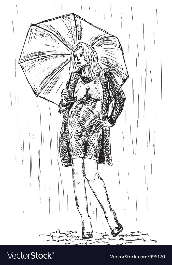 Girl in the rain vector | Price: 1 Credit (USD $1)