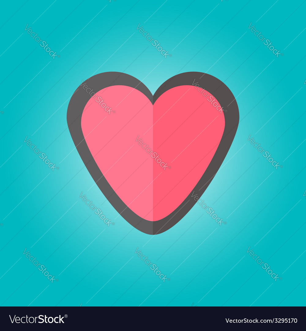 Heart emblem in flat style vector | Price: 1 Credit (USD $1)
