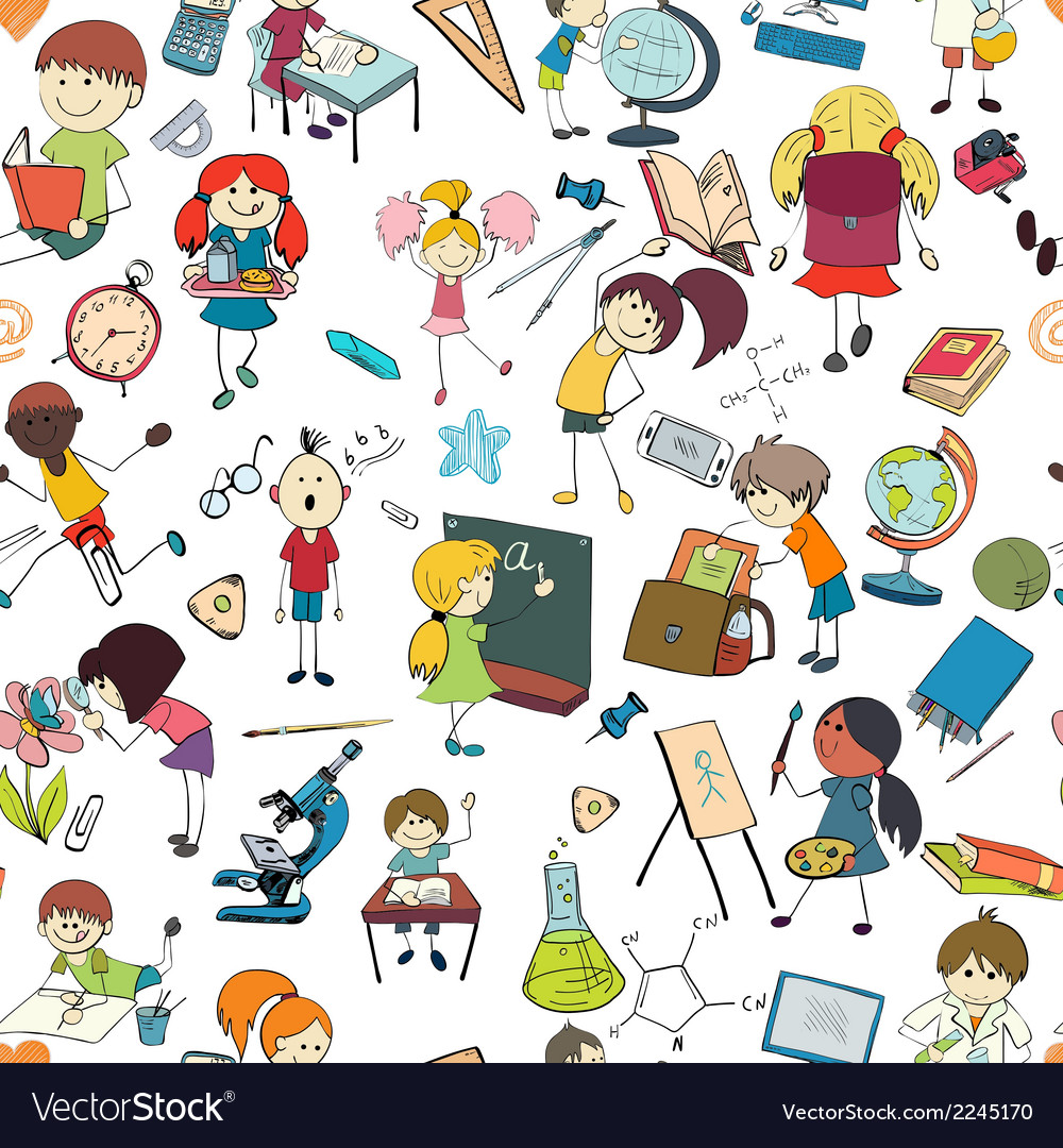 Kids school sketch seamless pattern vector | Price: 1 Credit (USD $1)