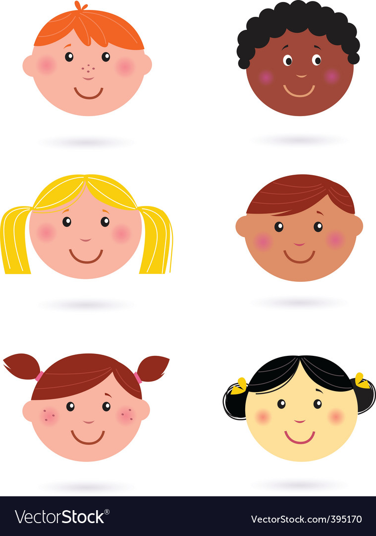 Multicultural kids' heads vector | Price: 1 Credit (USD $1)
